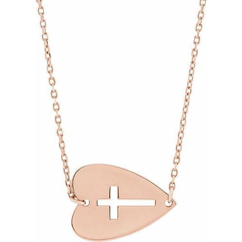 14kt Sideways Heart & Cross