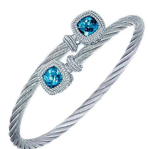 Sterling and Stainless Steel Blue Topaz Bypass Cable Bangle
