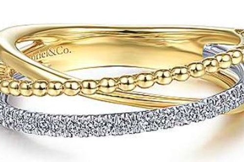 14K White-Yellow Gold Ball and Diamond Criss Cross Ring