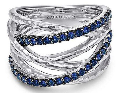 Sterling Silver Hammered Wide Band Layered Sapphire Ring
