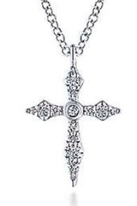 14K WG Sculpted Diamond Cross Pendant