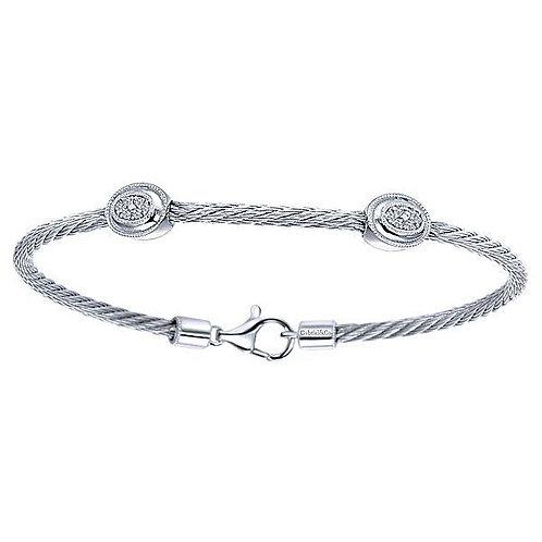 Steel & Sterling Diamond Cable Bracelet