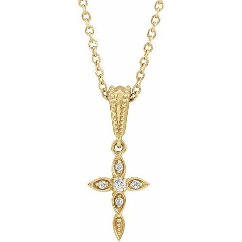 14kt Vintage Style Diamond Cross