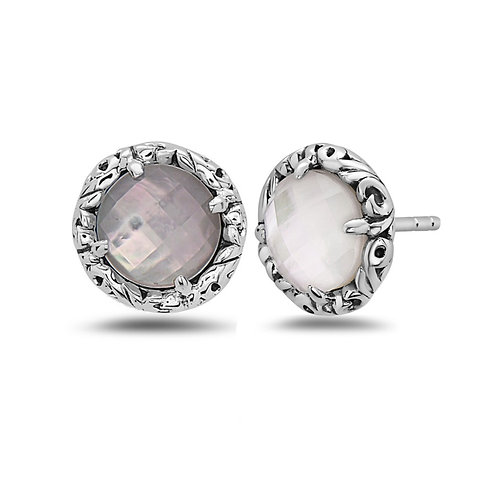 Sterling Silver Faceted Mother-of-Pearl Earrings