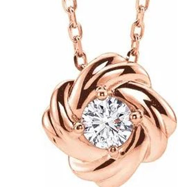 14kt Rose Gold Love Knot Necklace with Diamond