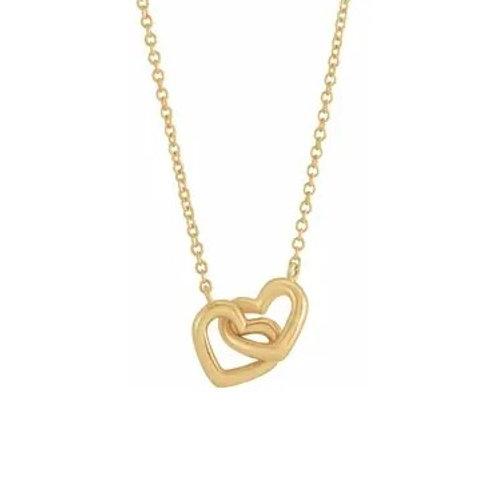 4kt  Interlocking Heart Necklace
