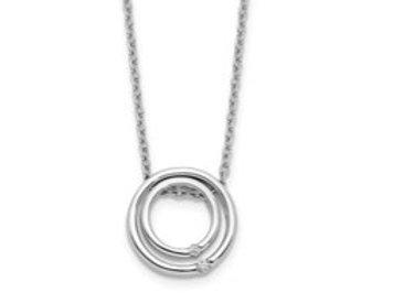 14k Double Circle Diamond Necklace