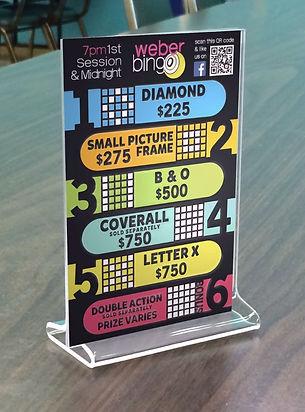 Weber Bingo Table Tent