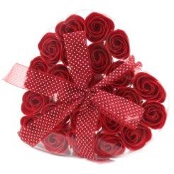 24 soap roses heart box
