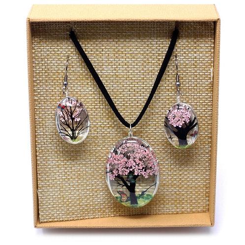Sets de bijoux fleurs pressées - arbre de la vie