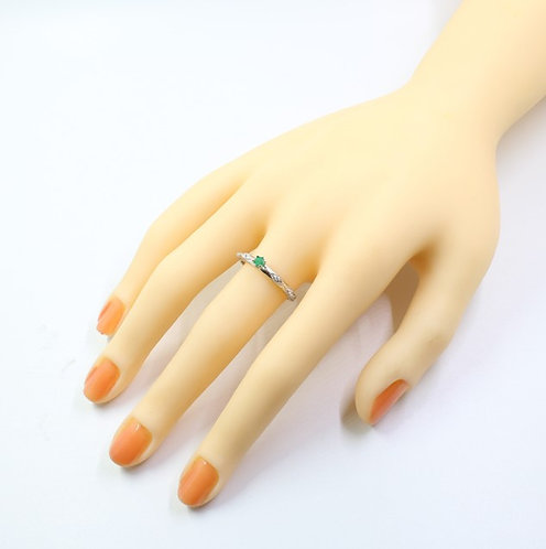 Sterling silver 925 ring with natural emerald, 3 mm