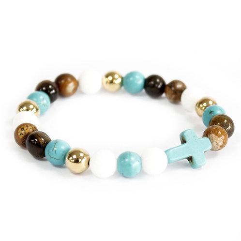 Bracelet pierre naturelle - Pierres mélangées / Croix turquoise