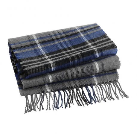Classic check scarf, with fringes