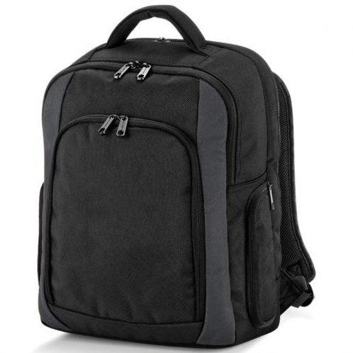 QUADRA - black backpack, multi pockets & compartments, 23 l