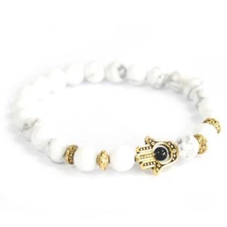 Bracelet pierre naturelle - Howlite / Main de Fatima