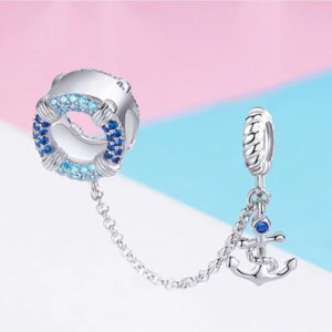 Security chain hanging charm  in sterling silver 925, marine