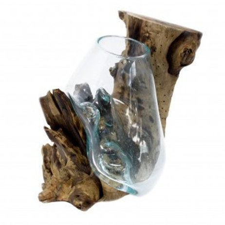 Molten glass on wood - hanging bowl
