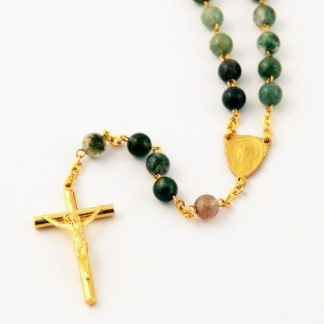 Rosary with moss agate beads