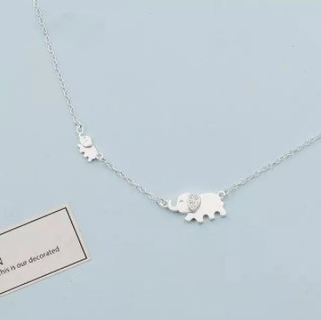 Choker necklace in sterling silver 925, elephant
