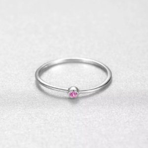 Sterling silver 925 small rings with little pink crystal