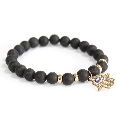 Bracelet pierre naturelle - agate noire