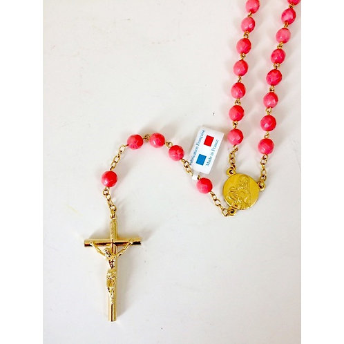 Rosary with pink coral beads