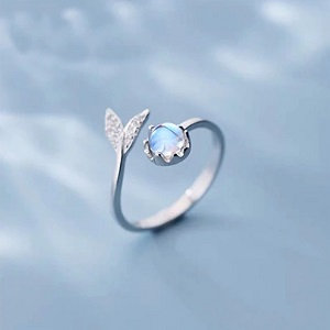 Sterling silver 925 adjustable ring with plating in white gold, mermaid