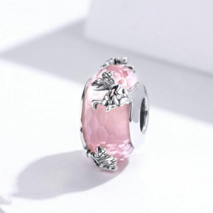 Murano glass bead charm in sterling silver 925, pink buterfly