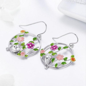 Hanging earrings in sterling silver 925, forest birds and flowers