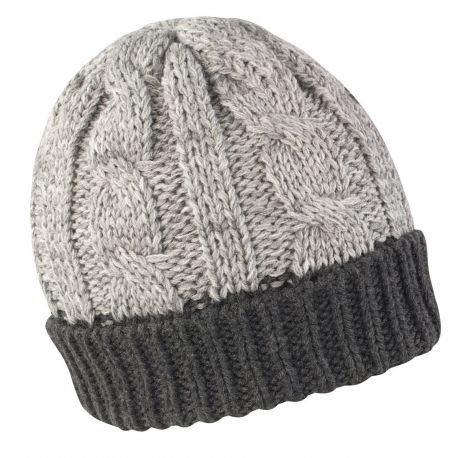 Very warm coarse-meshed beanie with lapels