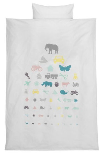 KRONBORG - Printed quilt cover set for babies (70 x 100 cm)