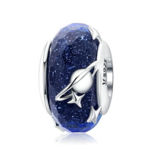 Murano glass bead charm in sterling silver 925, interspave