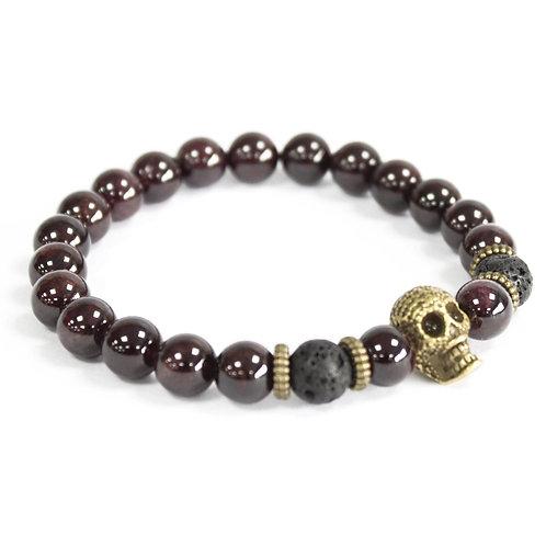 Bracelet pierre naturelle - Jaspe sanguine / Crâne
