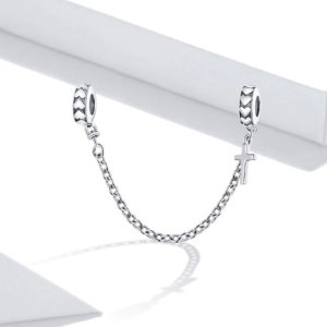Security chain hanging charm in sterling silver 925, cross