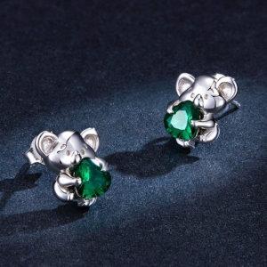 Koala-shaped earrings in sterling silver 925