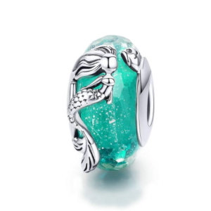 Murano glass bead charm in sterling silver 925, mermaid