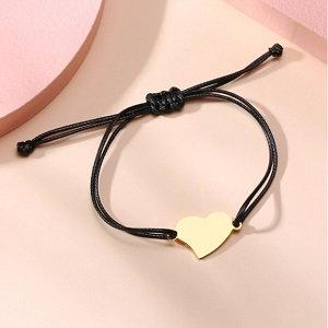 Braided rope bracelet, heart