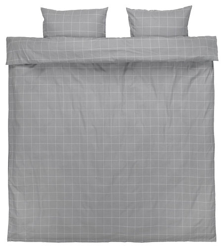 Set of Theresa duvet cover in flannel, grey