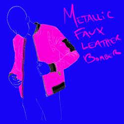 Metallic Faux Leather Bomber