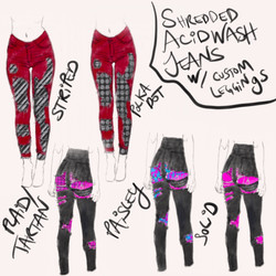Shredded Acid Wash Jeans w/ Leggings