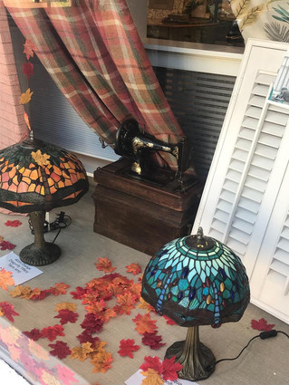 Tiffany Lampshades available in our Autumnal Window Display
