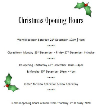 Advance Notice of Christmas Opening Hours