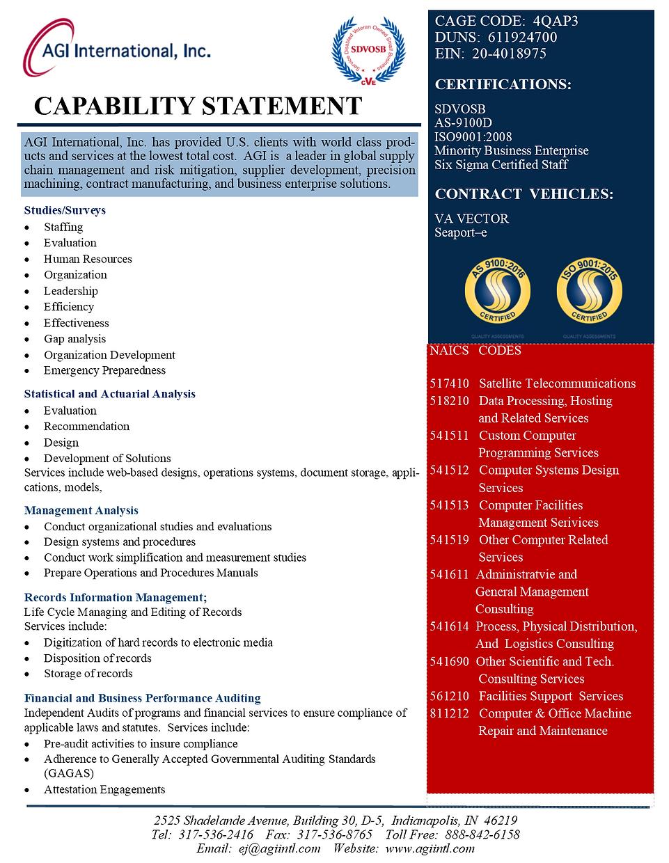 AGI Capability Statement  - Government P