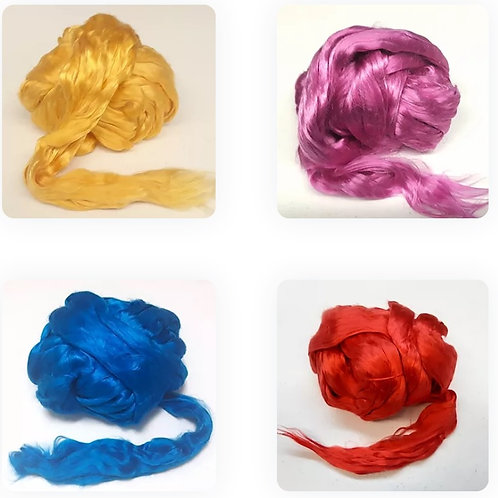 Fibras de seda siete colores 25gr