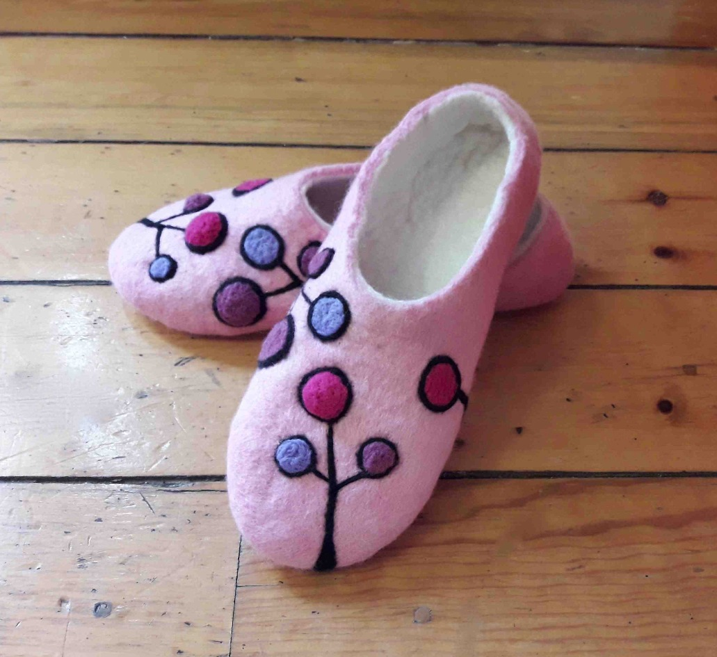 Pantuflas en wet felting