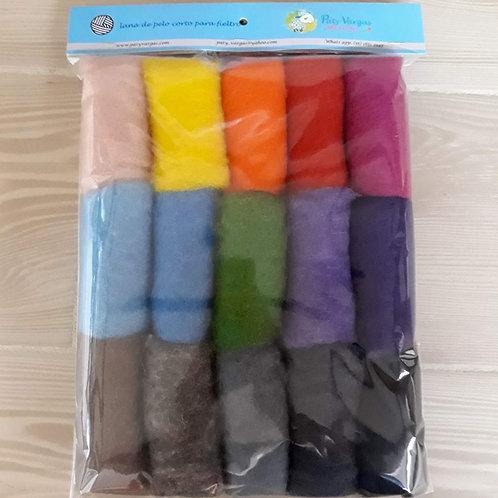 Paquete de 15 colores pelo corto