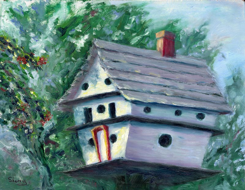 Birdhouse Blues 14x11 oil