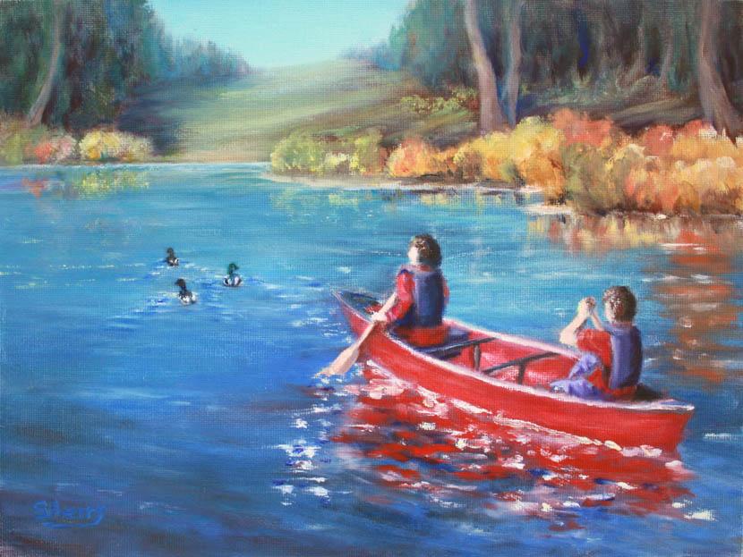 Paddle Paradise 12x9 oil