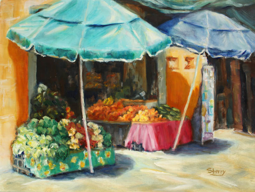Market On Main 12x9 oil