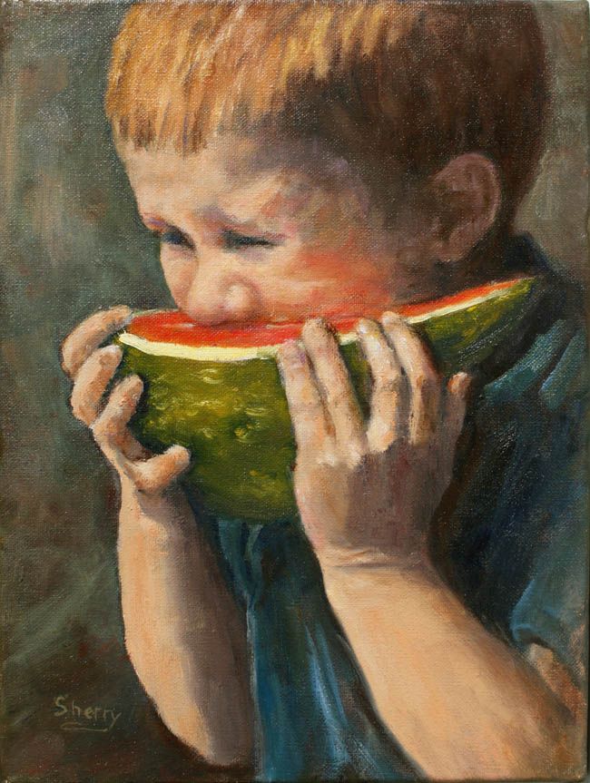Watermelon Wash 9x12 oil